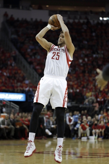 Apr 30, 2014; Houston, TX, USA; Houston Rockets forward Chandler Parsons (25) shoots the ball during the second quarter against the Portland Trail Blazers in game five of the first round of the 2014 NBA Playoffs at Toyota Center. Mandatory Credit: Andrew Richardson-USA TODAY Sports