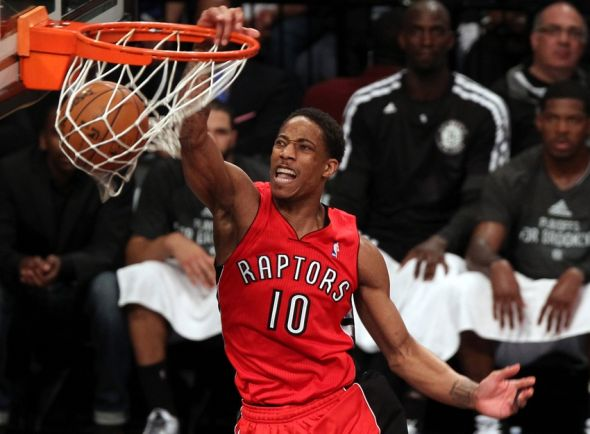 May 2, 2014; Brooklyn, NY, USA; Toronto Raptors guard DeMar DeRozan (10) dunks the ball against the Brooklyn Nets during the second half in game six of the first round of the 2014 NBA Playoffs at Barclays Center. The Nets defeated the Raptors 97 - 83. Mandatory Credit: Adam Hunger-USA TODAY Sports