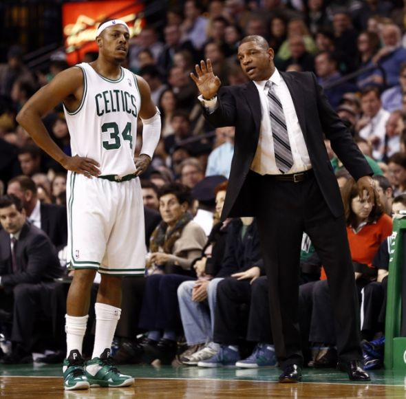 If Paul Pierce were to go to the L.A. Clippers, he'd be reunited with his former coach in Boston, Doc Rivers. Mandatory Credit: Mark L. Baer-USA TODAY Sports
