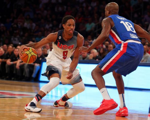 Aug 20, 2014; New York, NY, USA; United States guard DeMar DeRozan (9) controls the ball against Dominican Republic forward James Maye (18) during the second quarter of a game at Madison Square Garden. Mandatory Credit: Brad Penner-USA TODAY Sports