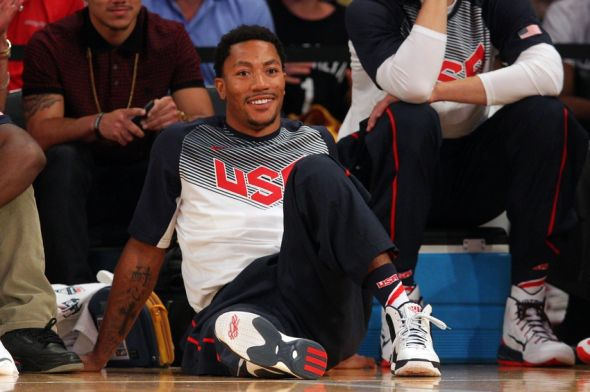 Aug 20, 2014; New York, NY, USA; United States guard Derrick Rose (6) looks on during the second half of a game against the Dominican Republic at Madison Square Garden. Mandatory Credit: Brad Penner-USA TODAY Sports