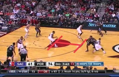 An example of the Portland Trail Blazers Pick and Roll Defense. Big man hangs back at the foul line