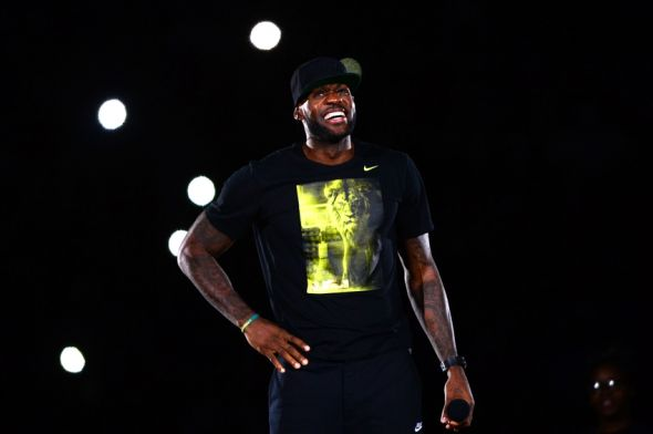 Aug 8, 2014; Akron, OH, USA; Cleveland Cavaliers forward LeBron James during the LeBron James Family Foundation Reunion and Rally at InfoCision Stadium. Mandatory Credit: Andrew Weber-USA TODAY Sports