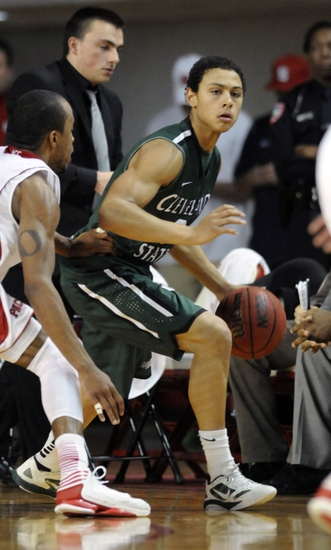 Dec 8, 2012; Raleigh, NC, USA; North Carolina State Wolfpack guard Lorenzo Brown (2) guards Cleveland State Vikings guard Bryn Forbes (2) during the second half at Reynolds Coliseum. The Wolfpack won 80-63. Mandatory Credit: Liz Condo-USA TODAY Sports