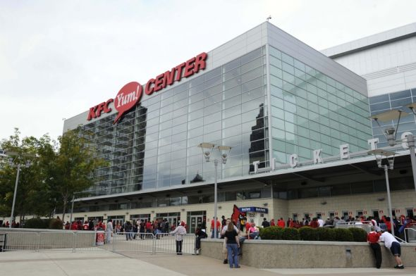 October 13, 2012; Louisville, KY, USA; A general view of the KFC YUM! Center before the Louisville Cardinals red-white basketball scrimmage. Mandatory Credit: Jamie Rhodes-USA TODAY Sports