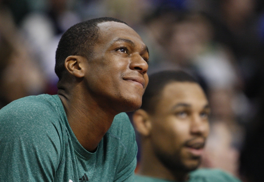 Apr 5, 2014; Auburn Hills, MI, USA; Boston Celtics guard Rajon Rondo (9) looks on during the third quarter against the Detroit Pistons at The Palace of Auburn Hills. Pistons beat the Celtics 115-111. Mandatory Credit: Raj Mehta-USA TODAY Sports