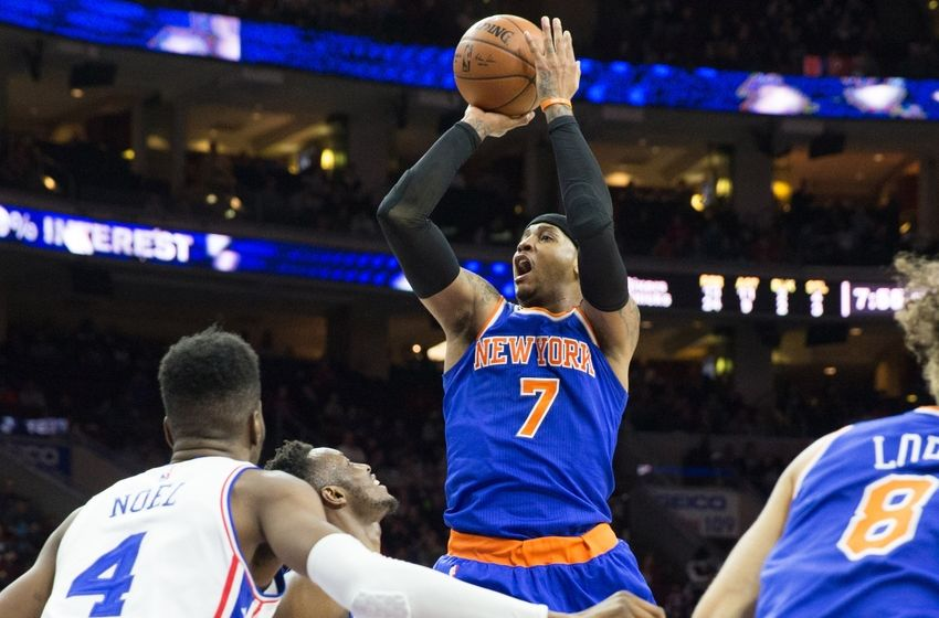 Apr 8, 2016; Philadelphia, PA, USA; New York Knicks forward Carmelo Anthony (7) shoots against the Philadelphia 76ers during the second quarter at Wells Fargo Center. Mandatory Credit: Bill Streicher-USA TODAY Sports