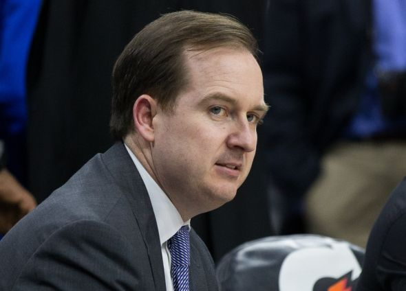 Nov 2, 2015; Philadelphia, PA, USA; Philadelphia 76ers general manager Sam Hinkie prior to a game against the Cleveland Cavaliers at Wells Fargo Center. Mandatory Credit: Bill Streicher-USA TODAY Sports