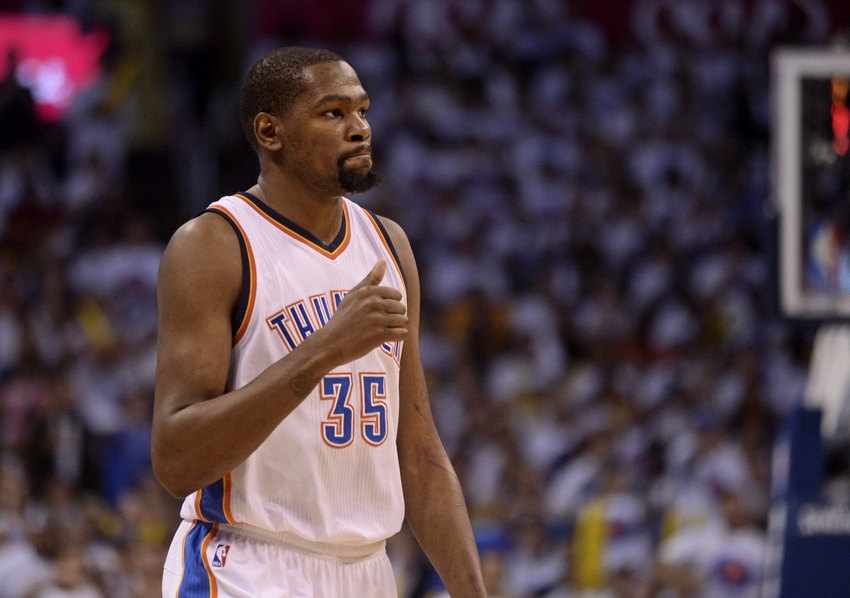 May 24, 2016; Oklahoma City, OK, USA; Oklahoma City Thunder forward Kevin Durant (35) reacts during the first quarter against the Golden State Warriors in game four of the Western conference finals of the NBA Playoffs at Chesapeake Energy Arena. Mandatory Credit: Mark D. Smith-USA TODAY Sports