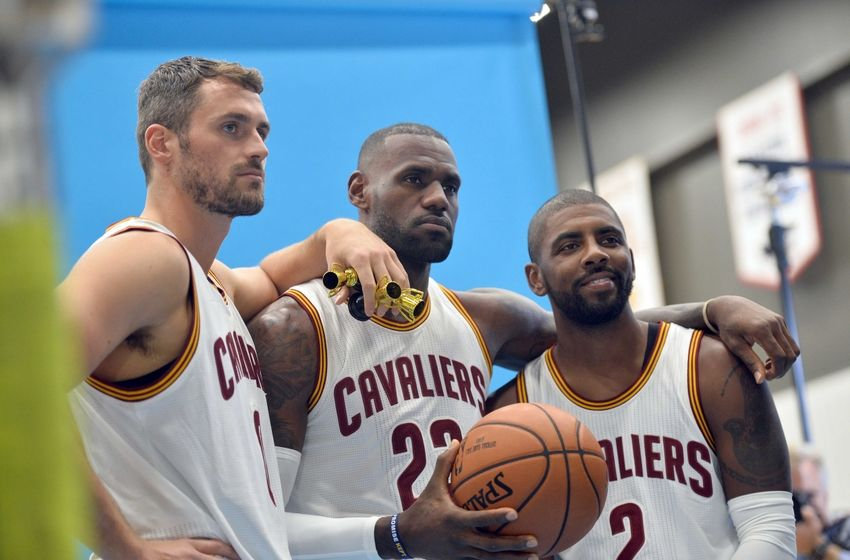 Sep 26, 2016; Cleveland, OH, USA; Cleveland Cavaliers forward Kevin Love (0), forward LeBron James (23) and guard Kyrie Irving (2) pose during a photo session during media day at Cleveland Clinic Courts. Mandatory Credit: Ken Blaze-USA TODAY Sports