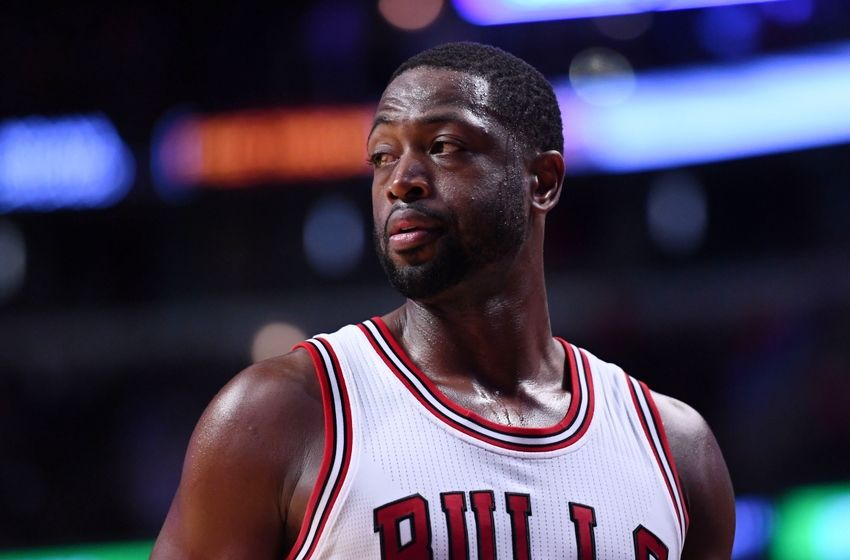 Oct 8, 2016; Chicago, IL, USA; Chicago Bulls guard Dwyane Wade (3) reacts during the second half against the Indiana Pacers at the United Center. Mandatory Credit: Mike DiNovo-USA TODAY Sports