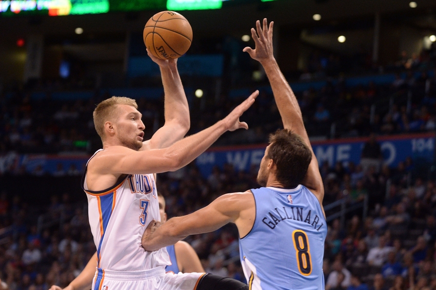 Oct 18, 2016; Oklahoma City, OK, USA; Oklahoma City Thunder forward Domantas Sabonis (3) shoots the ball in front of Denver Nuggets forward Danilo Gallinari (8) during the third quarter at Chesapeake Energy Arena. Mandatory Credit: Mark D. Smith-USA TODAY Sports