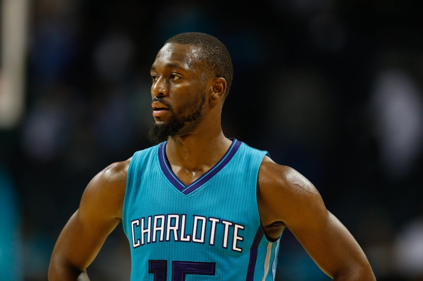 Oct 29, 2016; Charlotte, NC, USA; Charlotte Hornets guard Kemba Walker (15) stands on the court in the second half against the Boston Celtics at the Spectrum Center. The Celtics defeated the Hornets 104-98. Mandatory Credit: Jeremy Brevard-USA TODAY Sports
