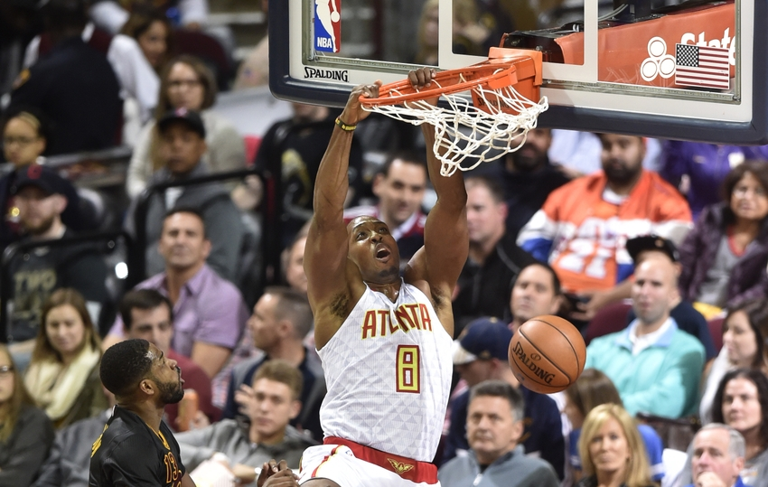 Nov 8, 2016; Cleveland, OH, USA; Atlanta Hawks center Dwight Howard (8) dunks the ball in the second quarter against the Cleveland Cavaliers at Quicken Loans Arena. Mandatory Credit: David Richard-USA TODAY Sports