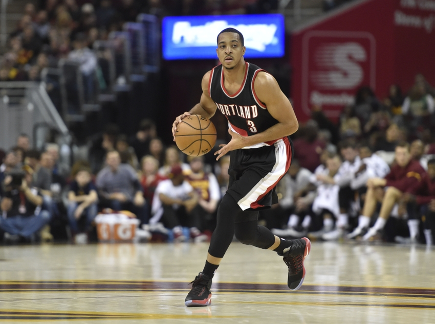 Nov 23, 2016; Cleveland, OH, USA; Portland Trail Blazers guard C.J. McCollum (3) controls the ball in the first quarter against the Cleveland Cavaliers at Quicken Loans Arena. Mandatory Credit: David Richard-USA TODAY Sports