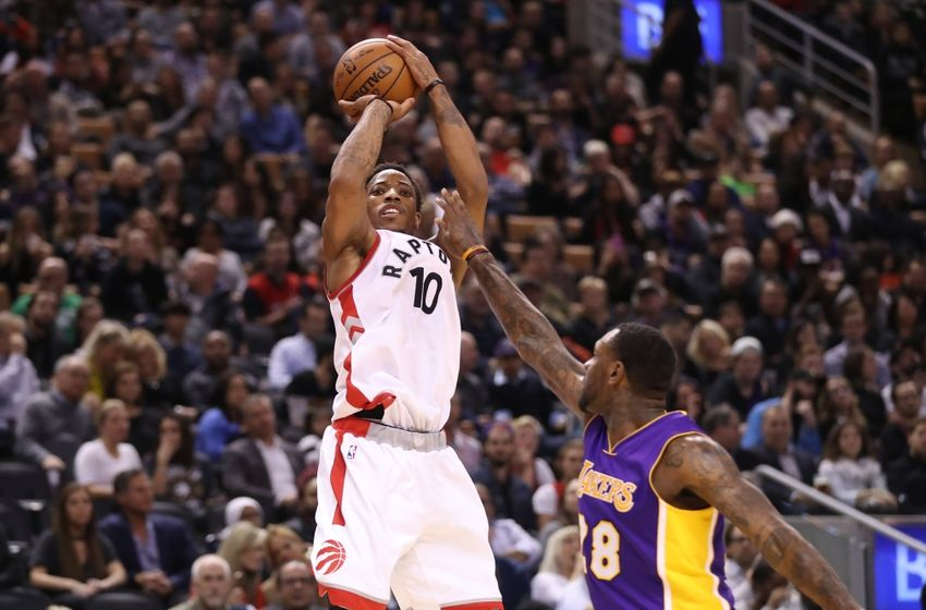 Dec 2, 2016; Toronto, Ontario, CAN; Toronto Raptors guard DeMar DeRozan (10) shoots and scores a basket against the Los Angeles Lakers at Air Canada Centre. The Raptors beat the Lakers 113-80. Mandatory Credit: Tom Szczerbowski-USA TODAY Sports