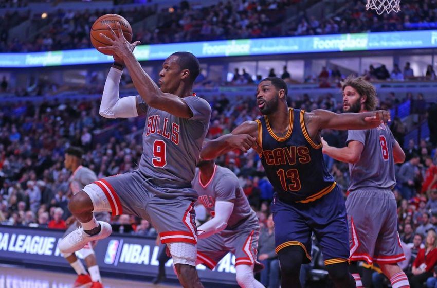 Dec 2, 2016; Chicago, IL, USA; Chicago Bulls guard Rajon Rondo (9) grabs a rebound over Cleveland Cavaliers center Tristan Thompson (13) during the second half at the United Center. Chicago won 111-105. Mandatory Credit: Dennis Wierzbicki-USA TODAY Sports