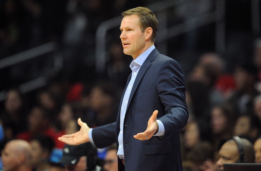 November 19, 2016; Los Angeles, CA, USA; Chicago Bulls head coach Fred Hoiberg watches game action against the Los Angeles Clippers during the first half at Staples Center. Mandatory Credit: Gary A. Vasquez-USA TODAY Sports