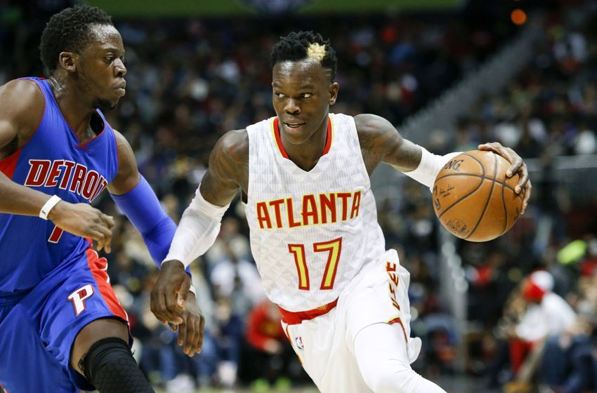 Dec 30, 2016; Atlanta, GA, USA; Atlanta Hawks guard Dennis Schroder (17) drives against Detroit Pistons guard Reggie J ackson (1) in the third quarter at Philips Arena. The Hawks won 105-98. Mandatory Credit: Brett Davis-USA TODAY Sports