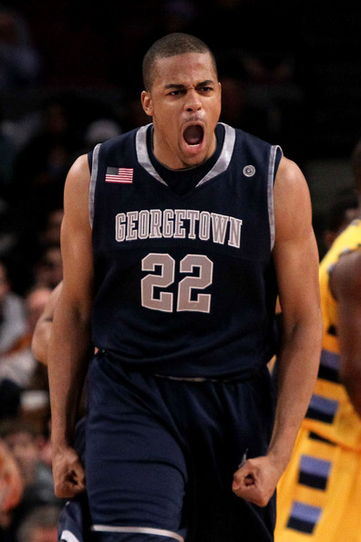 Julian Vaughn #22 of the Georgetown Hoyas reacts after a play against the Marquette Golden Eagles during the semifinal of the 2010 Big East Tournament at Madison Square Garden on March 12, 2010 in New York City.
