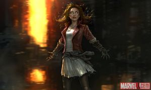 "Concept art for the Scarlet Witch in ""Avengers: Age of Ultron,"" copyright MARVEL STUDIOS"