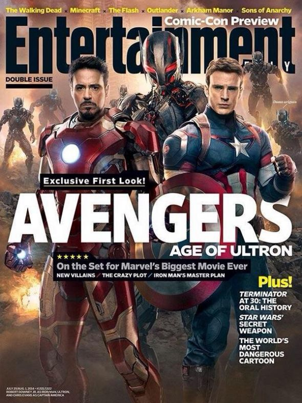 Ultron, Iron Man, and Captain America on the EW Cover