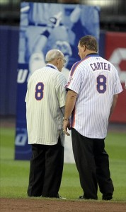 Sep 28, 2008; Flushing, NY,USA: Former Mets players Yogi Berra and Gary Carter stand together at the ceremonies at the last regular season game at Shea Stadium. Mandatory Credit: WILLIAM PERLMAN/THE STAR-LEDGER via US PRESSWIRE