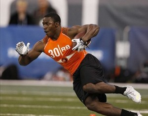 Feb 26, 2012; Indianapolis, IN, USA; Virginia Tech Hokies running back David Wilson does running drills during the NFL Combine at Lucas Oil Stadium. Mandatory Credit: Brian Spurlock-US PRESSWIRE