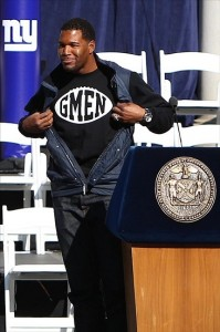 Feb 7, 2012; New York, NY, USA; New York Giants former player Michael Strahan during the Super Bowl XLVI victory celebration in downtown Manhattan.  Mandatory Credit: Debby Wong-US PRESSWIRE