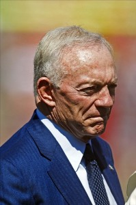 September 18, 2011; San Francisco, CA, USA; Dallas Cowboys owner Jerry Jones on the sidelines before the game against the San Francisco 49ers at Candlestick Park. Dallas defeated San Francisco 27-24 in overtime. Mandatory Credit: Jason O. Watson-US PRESSWIRE