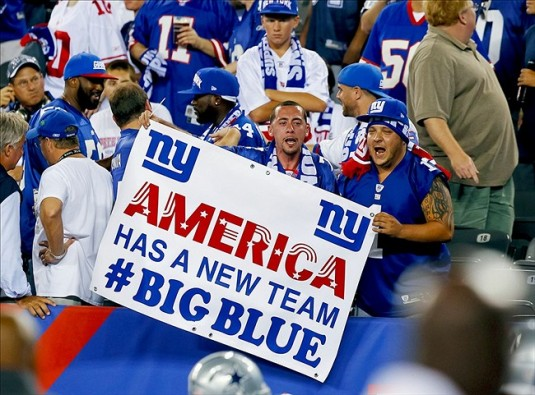 Sep 5, 2012; East Rutherford, NJ, USA;  New York Giants fans prior to the game against the Dallas Cowboys at MetLife Stadium. Mandatory Credit: Jim O