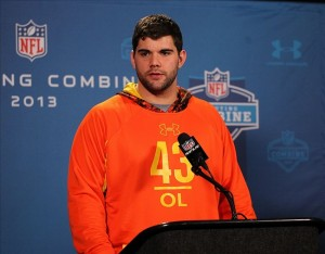 Feb 21, 2013; Indianapolis, IN, USA; Syracuse offensive lineman Justin Pugh speaks at a press conference during the 2013 NFL Combine at Lucas Oil Stadium. Mandatory Credit: Brian Spurlock-USA TODAY Sports