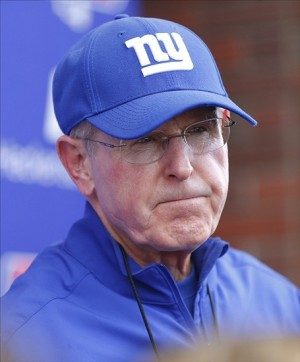 Jun 11, 2013; East Rutherford, NJ, USA; New York Giants head coach Tom Coughlin addresses media after minicamp the Giants Timex Performance Center. Mandatory Credit: Jim O