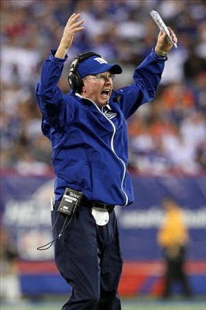 Sep 15, 2013; East Rutherford, NJ, USA; New York Giants head coach Tom Coughlin reacts after a Denver Broncos touchdown during the fourth quarter of a game at MetLife Stadium. The Broncos defeated the Giants 41-23. Mandatory Credit: Brad Penner-USA TODAY Sports