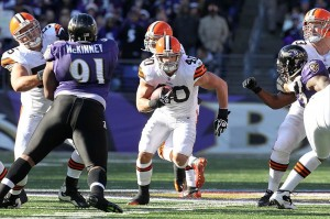 December 24, 2011; Baltimore, MD, USA; Cleveland Browns running back Peyton Hillis (40) in action against the Baltimore Ravens at M