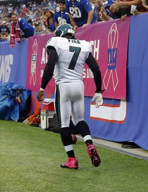 Oct 6, 2013; East Rutherford, NJ, USA; Philadelphia Eagles quarterback Michael Vick (7) walks off field during the first half at MetLife Stadium. Philadelphia Eagles defeat the New York Giants 36-21. Mandatory Credit: Jim O
