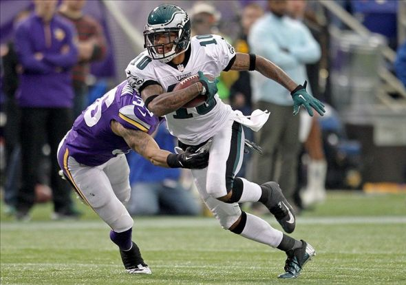Dec 15, 2013; Minneapolis, MN, USA; Philadelphia Eagles wide receiver DeSean Jackson (10) carries the ball during the fourth quarter against the Minnesota Vikings at Mall of America Field at H.H.H. Metrodome. The Vikings defeated the Eagles 48-30. Mandatory Credit: Brace Hemmelgarn-USA TODAY Sports
