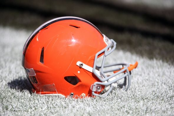 Sep 21, 2014; Cleveland, OH, USA; Cleveland Browns helmet on the field before a game against the Baltimore Ravens at FirstEnergy Stadium. Mandatory Credit: Ron Schwane-USA TODAY Sports