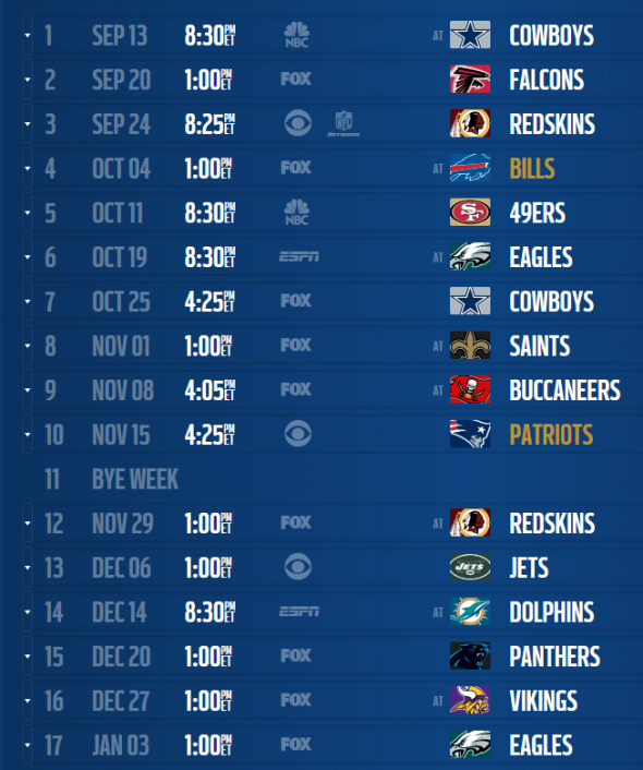 new york giants 2007 schedule results download