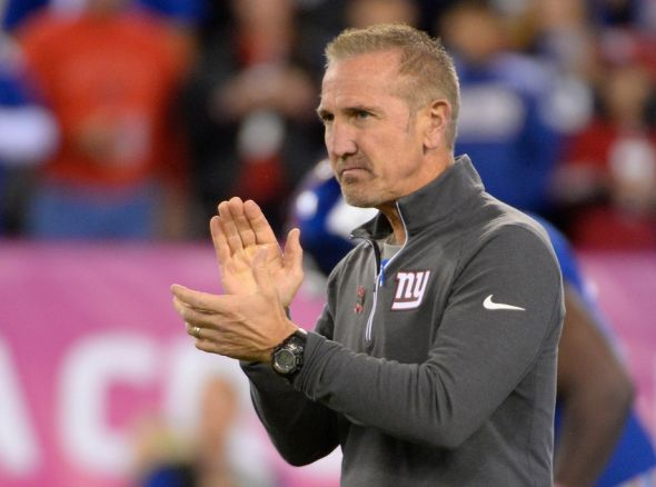 Oct 11, 2015; East Rutherford, NJ, USA; Giants Defensive coordinator Steve Spagnuolo looks on prior to the game against the San Francisco 49ers at MetLife Stadium. Mandatory Credit: Robert Deutsch-USA TODAY Sports