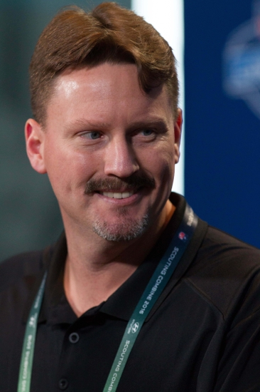 Feb 24, 2016; Indianapolis, IN, USA; New York Giants head coach Ben McAdoo speaks to the media during the 2016 NFL Scouting Combine at Lucas Oil Stadium. Mandatory Credit: Trevor Ruszkowski-USA TODAY Sports