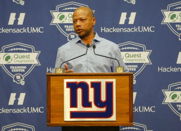 Jan 5, 2016; East Rutherford, NJ, USA; New York Giants general manager Jerry Reese addresses the media during a press conference at Quest Diagnostics Training Center. Mandatory Credit: Jim O
