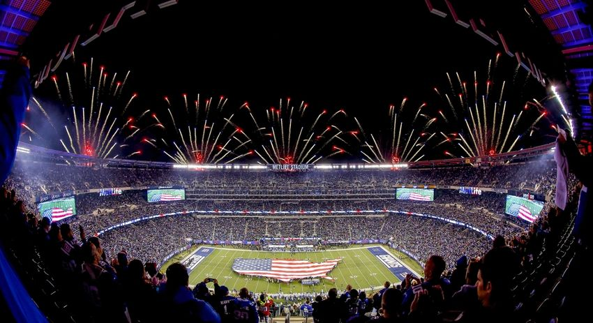 Nov 3, 2014; East Rutherford, NJ, USA; General view of MetLife Stadium prior to the start of Monday Night Football game between the New York Giants and the Indianapolis Colts. Mandatory Credit: Jim O