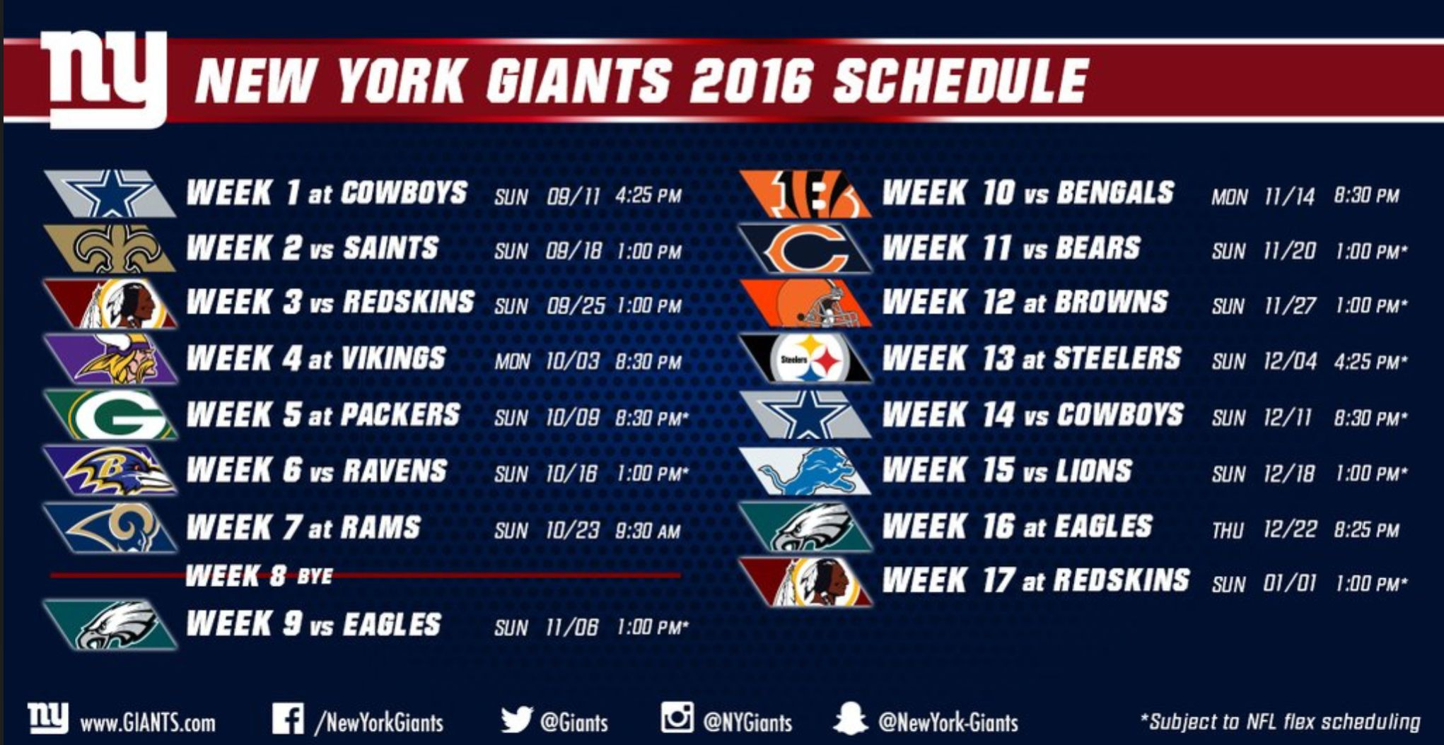 New York Giants 2016 Schedule Released Brad Wing Signs Big Blue ...
