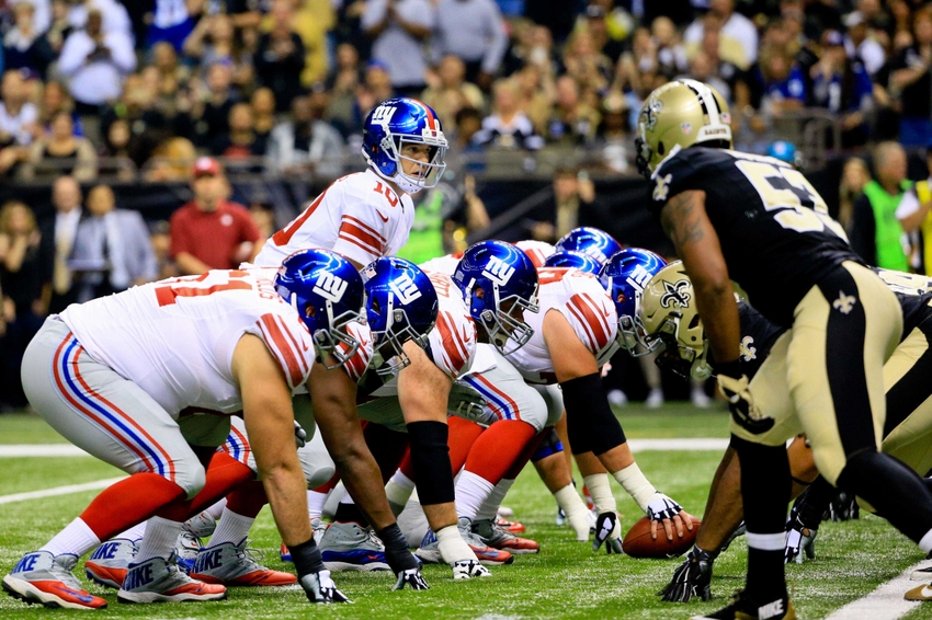 Nov 1, 2015; New Orleans, LA, USA; New York Giants quarterback Eli Manning (10) at the line against the New Orleans Saints during the first half of a game at the Mercedes-Benz Superdome. The Saints defeated the Giants 52-49. Mandatory Credit: Derick E. Hingle-USA TODAY Sports