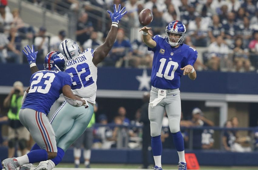 21e1f20bf25 92 Cedric Thornton DT ... quarterback Eli Manning (10) Mens Nike Dallas  Cowboys 92 Cedric Thornton Elite White Throwback Alternate NFL Jersey ...