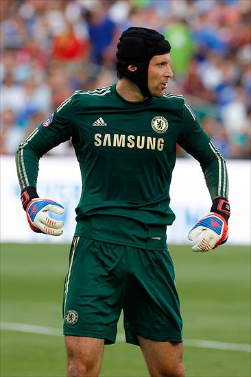 July 28 2012; Miami, FL, USA; Chelsea FC goalkeeper Petr Cech (1) during the first half of the 2012 World Football Challenge against AC Milan at SunLife Stadium. Mandatory Credit: Robert Mayer-USA TODAY Sports