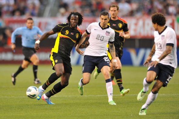 May 29, 2013; Cleveland, OH, USA; Belgium forward Romelu Lukaku (9) and United States defender Geoff Cameron (20) at FirstEnergy Stadium. Belgium won 4-2. Mandatory Credit: David Richard-USA TODAY Sports