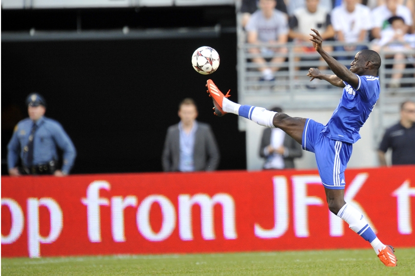 Aug 4, 2013; East Rutherford, NJ, USA; Chelsea forward Demba Ba (19) controls a ball against AC Milan during the first half at Metlife Stadium. Mandatory Credit: Joe Camporeale-USA TODAY Sports