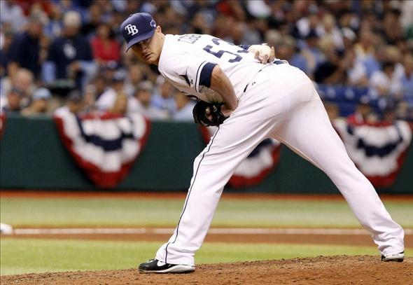 Oct 7, 2013; St. Petersburg, FL, USA; Tampa Bay Rays starting pitcher Alex Cobb (53) looks back at first base during the fourth inning against the Boston Red Sox in game three of the American League divisional series at Tropicana Field. Mandatory Credit: Kim Klement-USA TODAY Sports